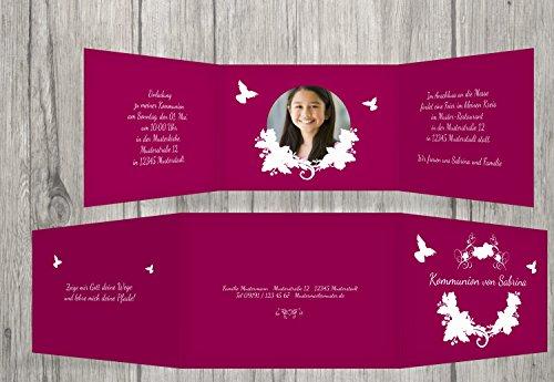 Kartenparadies Einladungskarte zur Kommunion Kommunionskarte Vogel, hochwertige Einladung als Kommunionskarte inklusive Umschläge | 10 Karten - (Format: 148x105 mm) Farbe: Lilarosa