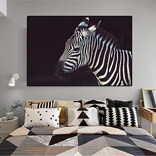 YB Canvas kunst dier poster en prints zwart en wit zebra schilderij voor woonkamer muurkunst decoratieve afbeelding Cuadros oningelijst-30x45 cm