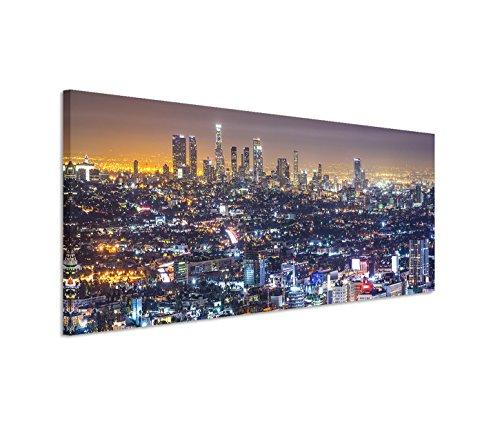 Paul Sinus Art 150x50cm Leinwandbild auf Keilrahmen Los Angeles Skyline Nacht Lichter Wandbild auf Leinwand als Panorama