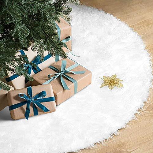 Rorchio Weihnachtsbaumröcke, 90cm Weihnachtsbaumständerhüllen Kunstfell weiß für Weihnachten 90CM Weiße Weihnachtsbaumabdeckung