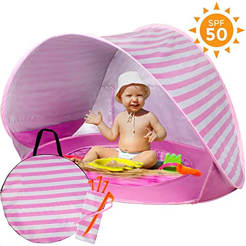 Baby Beach Tent with Built-in Pool - Ultralight Automatic Pop Up Tent UPF 50+ Beach Shade UV Protection Sun Shelters with Carry Bag for Toddler, Infant, Aged 0-3