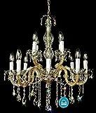 Lámpara de Araña de Cristal 12 Arm Acabado de Spectra Crystal de Swarovski Redondo Oro