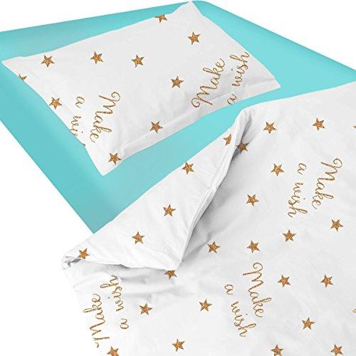 Baby Make A Wish (Star) SoulBedroom-Ropa de cama para bebé (Funda de edredón y funda de almohada, 100% algodón), 120 x 150 cm