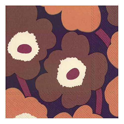 Ideal Home Range 20 Count 3-Ply Paper Lunch Napkins, Marimekko Unikko Purple Poppies