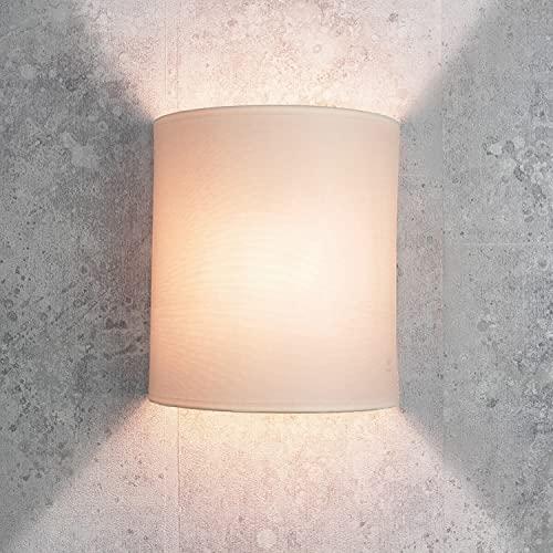 Aplique de pared en estilo moderno loft crema pantalla de tela 1x E27 hasta máx. 60W 230V lámpara de pared interior iluminación salón dormitorio pasillo