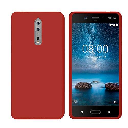 TBOC® Custodia Gel TPU Rossa per Nokia 8 (5.3 Pollici) in Silicone Ultra Sottile e Flessibile