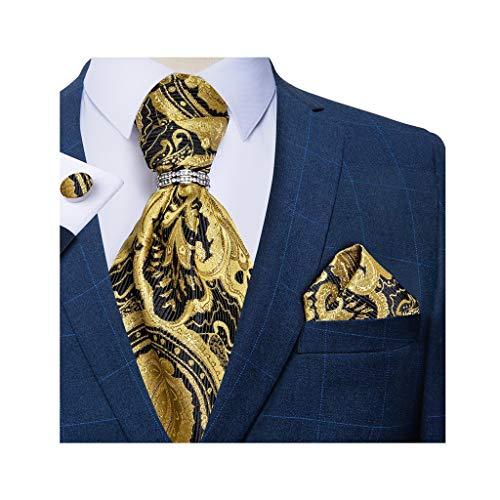 SJYDQ Hombres Silk Tie Set Set Hombres Fiesta de Boda Cravat Lazos Pañuelo Pañuelo Pantalones Necktie Anillo Conjuntos (Color : B)