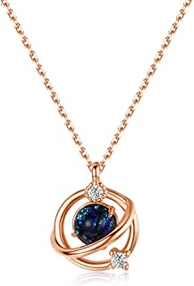 Necklace Jewelry Planet Necklace Choker Cubic Zirconia Starry Universe Round Circle Pendant Necklace For Women Girls Fashi...