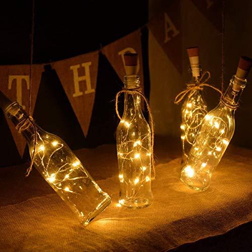 WILLBAN - Cadena LED para botella de vino con corcho, 20 ledes, botellas, luces de corcho, para fiestas, bodas, Navidad, Halloween, bar, decoración blanca cálida (cambiable)