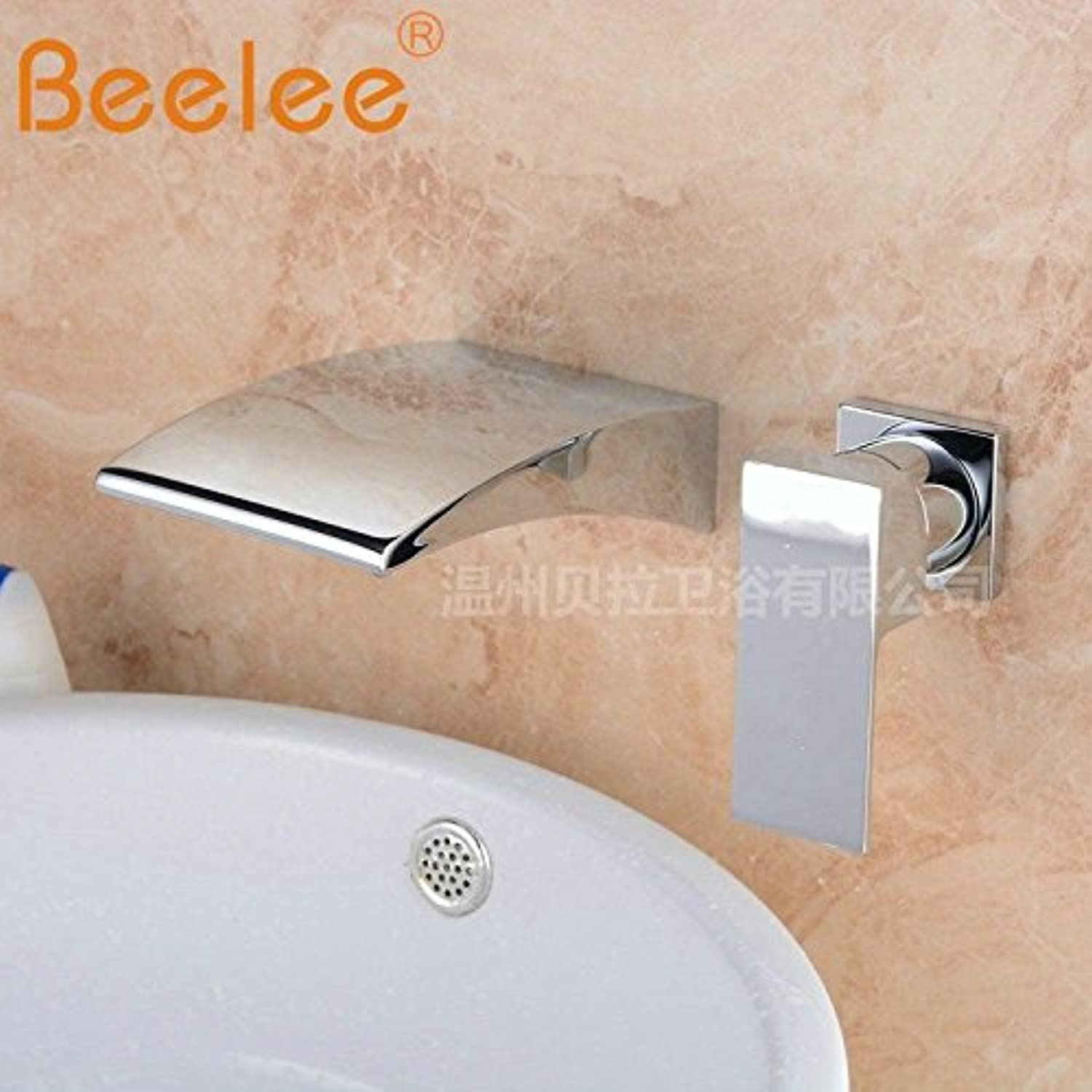 Lalaky Taps Faucet Kitchen Mixer Sink Waterfall Bathroom Mixer Basin Mixer Tap for Kitchen Bathroom and Washroom All Copper Waterfall Water Into The Wall Two Holes