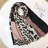 JIANYUXIN Bufanda de Invierno Señoras Leopardo Patchwork Viscosa Chal Bufanda...