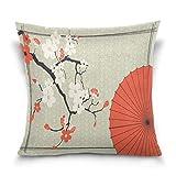 Funda de almohada decorativa cuadrada para sofá, funda de almohada cuadrada, paraguas rojo japonés, flor de cerezo Sakura funda de almohada doble cara 45,7 x 45,7 cm