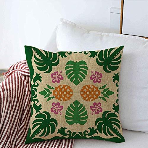 Fundas de almohada decorativas Palm Edredón hawaiano Textura Adorno natural Material de piña Patrón de flores Texturas Acolchado Funda de Cojine 45 X 45CM