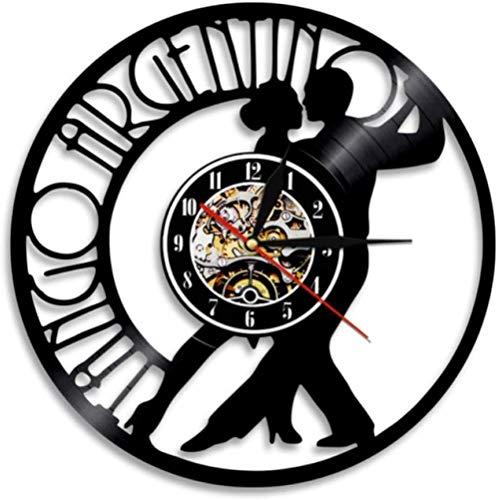 ZZLLL Reloj de Pared de Vinilo Moderno Tango Argentina CD de Baile Reloj de Pared Vintage Regalo para Amantes de la Danza Reloj de Pared de Vinilo Pareja Bailarina Mural de Tango