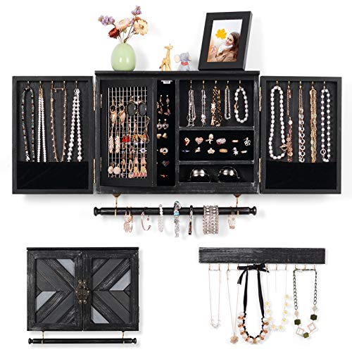 Rustic Jewelry Organizer Wall Mounted Jewelry Holder Cabinet Storage with Wooden Barn Door for Necklaces Earings Ring Holder, Removable Bracelet Rod And Hook Organizer for Hanging Jewelry-Rustic Black