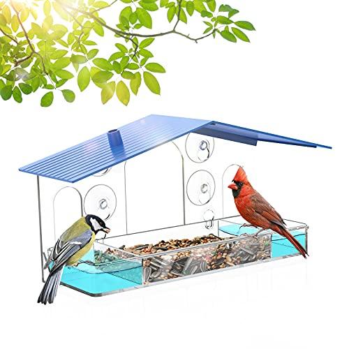 Sahara Sailor Mangiatoia per Uccelli, Mangiatoia per uccelli da finestra, Con vassoio staccabile, fori di drenaggio e 3 ventose, adatto per giardini e balconi (blu)