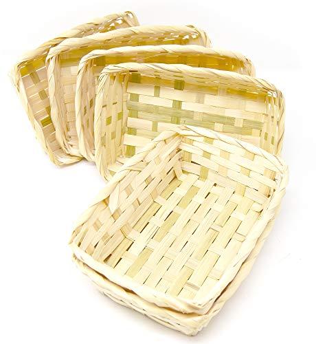 Lashuma 6er Korb Set Rechteckige Bambuskörbchen, Flacher Füllkorb 20 x 14 x 6 cm, Spankorb Natur