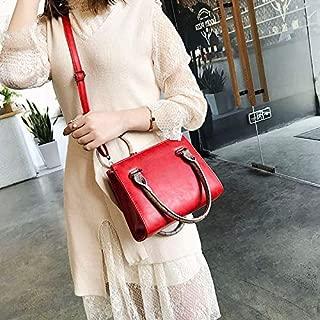Fashion Single-Shoulder Bags Leisure Fashion PU Slant Shoulder Bag Handbag(Black) (Color : Red)