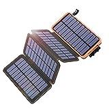 Hiluckey Cargador Solar 25000mAh Portátil Power Bank con 4 Paneles Solar Batería Externa Impermeable para Smartphones, Tablets