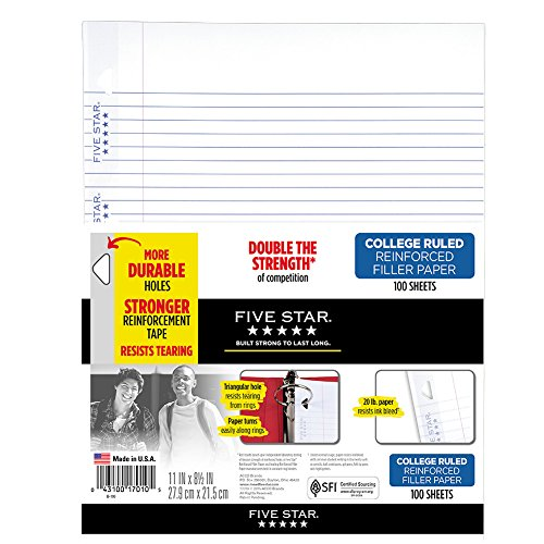 """Five Star Loose Leaf Paper, 3 Hole Punched, Reinforced Filler Paper, College Ruled, 11"""" x 8-1/2"""", 100 Sheets/Pack, 1 Pack (17010)"""