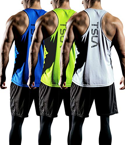 TSLA Men's Dry Fit Y-Back Muscle Workout Tank Tops, Athletic Training Gym Tank Top, Sleeveless Bodybuilding Shirts, 3pack(mtn33) - White/Neon/Blue, Small