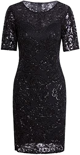 Vijiv Vintage 1920s Gatsby Sequin Beaded Lace Cocktail Party Flapper Dress With Sleeves X Large product image