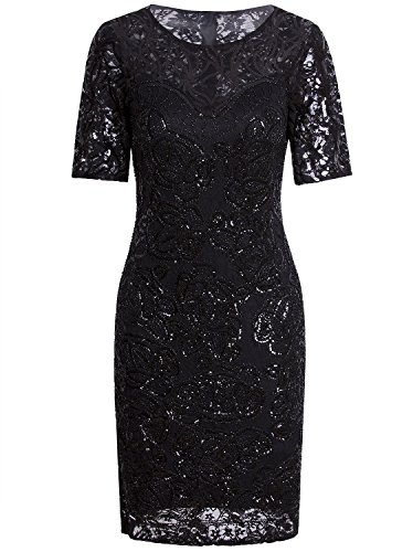 Vijiv Vintage 1920s Gatsby Sequin Beaded Lace Cocktail Party Flapper Dress With Sleeves,Large,Black