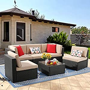 Vongrasig 6 Piece Small Patio Furniture Sets, Outdoor Sectional Sofa All Weather PE Wicker Patio Sofa Couch Garden Backyard Conversation Set with Glass Table,Beige Cushions and Red Pillows (Beige)