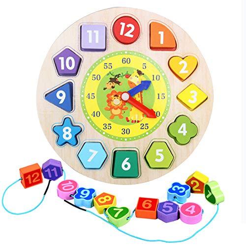 Reloj Aprendizaje Madera para Niños, Reloj Enseñanza Madera, Reloj Madera Educativo, Reloj Clasificación Madera, Juguete Rompecabezas Enseñanza del Tiempo con Formas Numéricas, para Niños y Niñas