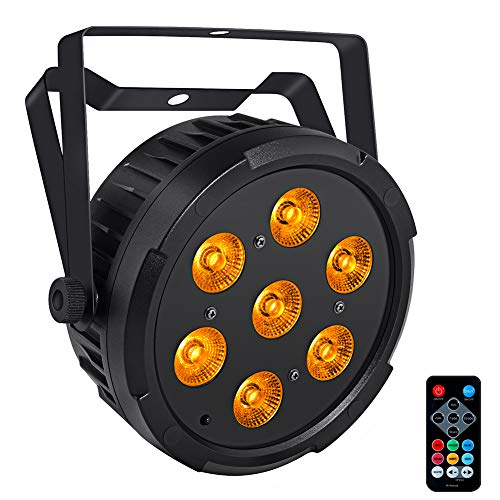 Par Can Lights, LaluceNatz 7 Led RGBA LED Stage Lights, Sound Activated Dj Lights Color Changing Uplights with Remote/DMX Control for Wedding, Church, Show, Party, Stage Lighting