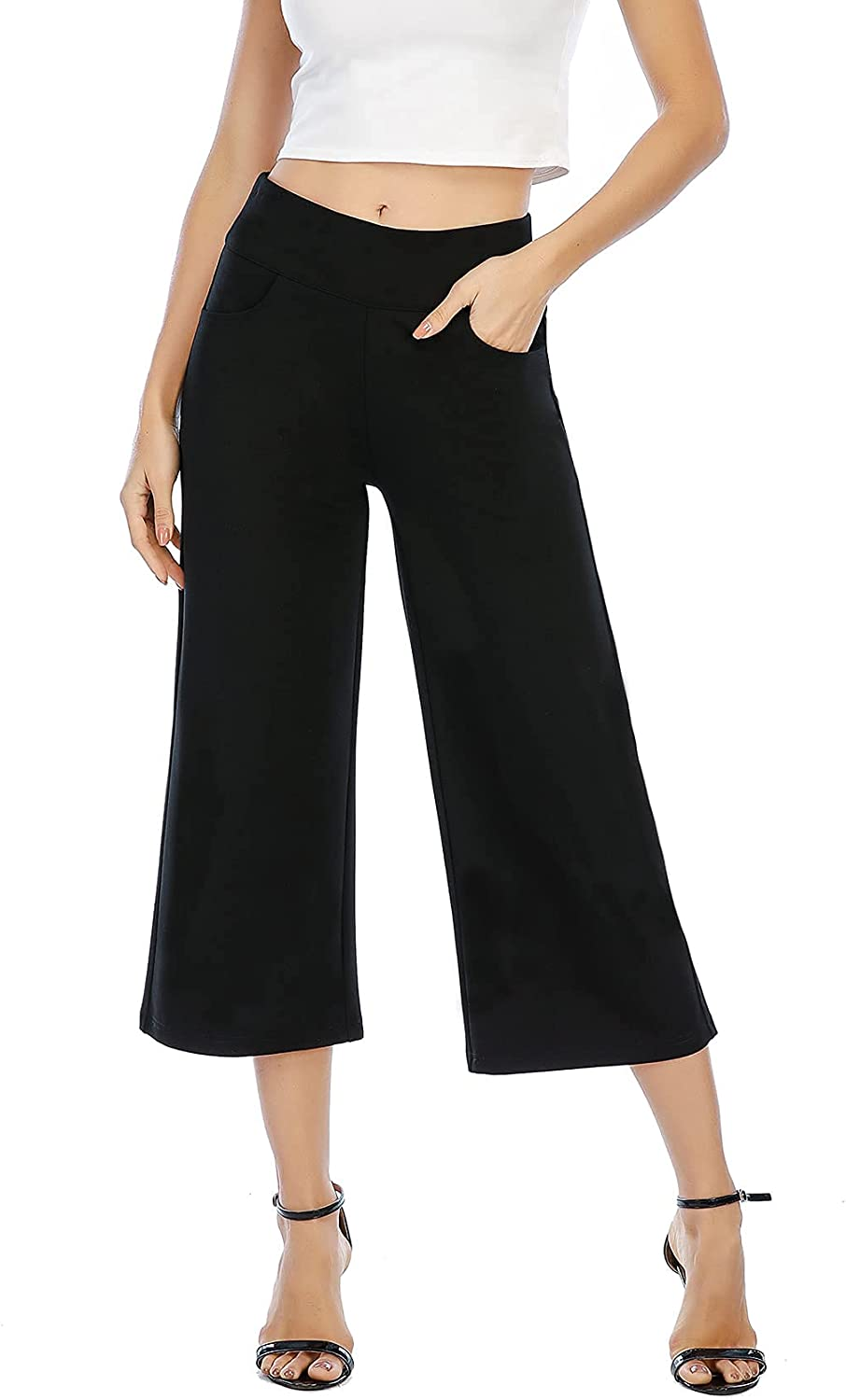 neezeelee Black Wide Leg Pants for Women High Waisted Loose Pull on Cropped Dress Pants Business Casual Work with Pockets