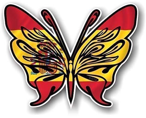Tribal Vlinder Ontwerp Tattoo Stijl Met Spanje Spaanse Land Vlag Nieuwigheid Vinyl Auto Sticker Sticker Sticker 120x95mm