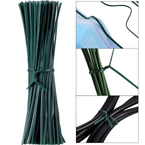 200 Piezas 12 cm Lazos de Torcedura de Plantas Jardín Cable Giro Flexible, Puente de Nariz Pinzas de Nariz Alambre de Soporte DIY, Lazos Jardineria Multifunción Resistente de Plantas (Verde)
