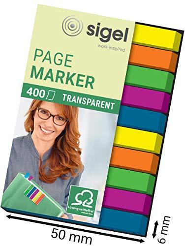 Sigel HN617 Haftmarker Film, Textstreifen, 400 extra schmale Streifen im Format 6 x 50 mm, 2x5 Farben