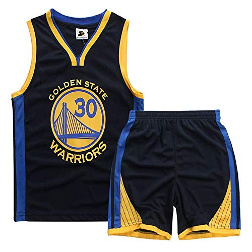 ASSD Juego de camisetas de baloncesto para niño y niña, NBA Warriors 30# Curry Basketball Uniforme de verano (color: azul real, talla: XXXS)