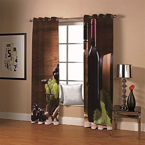 BVWSBGF Gardine Verdunklungsgardine 2 Stück 110x215cm Weinbild vorhänge Blickdicht Thermo Vorhang Kälte- und Wärmeisolierung Dekorieren Sie das Schlafzimmerfenster