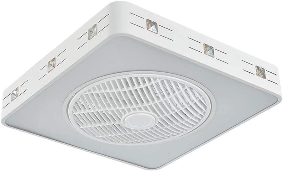 -Luces de Techo Ventilador Ventilador de techo LED con kit de luz, luz de techo cuadrada moderna, luminaria invisible regulable de montaje empotrado con control remoto, 3 x aspas de ABS , White Blanco