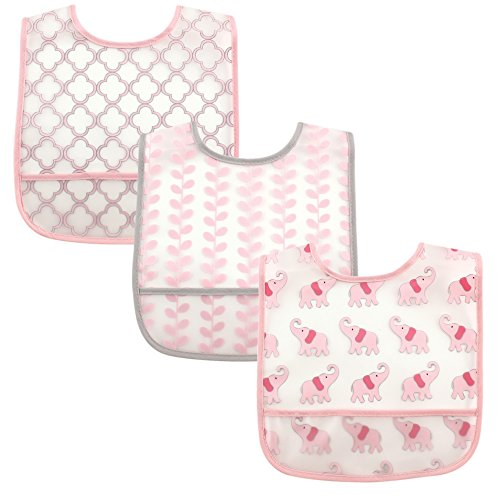 Luvable Friends PEVA Bib 3 Pack, Pink Elephants
