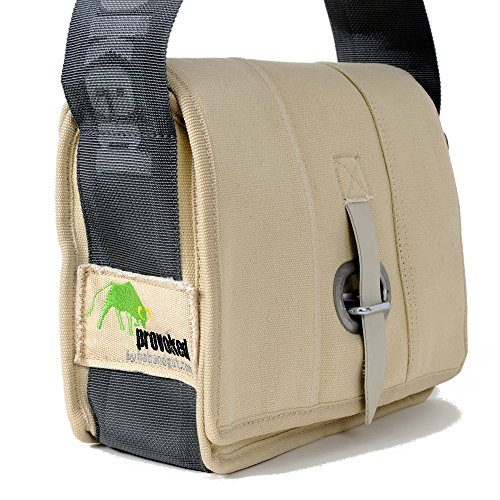 HAB & GUT -E4022A-O- Messenger Bag Mini-PROVOKED, aus Segeltuch mit Verschlusslasche BEIGE 26 x 19 cm