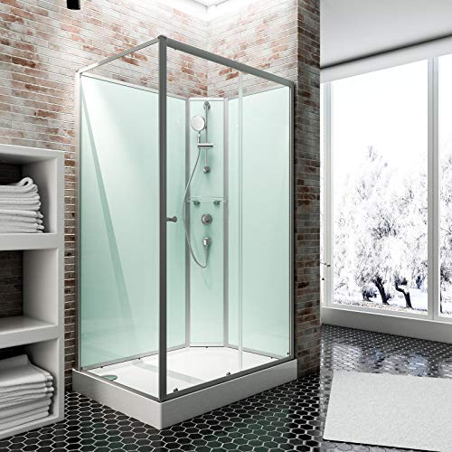 Schulte Fertigdusche Komplettdusche 160 x 90 cm Duschtempel Ibiza, 5 mm Sicherheits-Glas, Profile alu natur, Rückwände light-grün, Duschwanne weiß