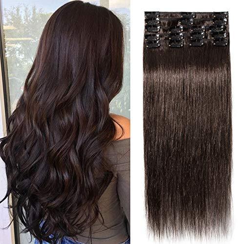 TESS Clip in Extensions Echthaar Haarteile guenstig Dunkelbraun #2 Remy Hair Extensions Haarverlängerung 18 Clips 8 Teile Lang Glatt Hair Extensions, 20