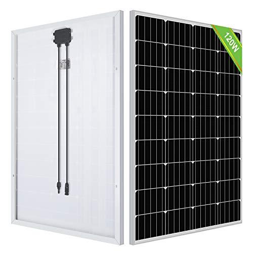 ECO-WORTHY 120 Watt Solarmodul mit Aluminiumrahmen, hocheffizientes monokristallines Solarpanel, Solarenergieeingang von 12 V, für Boote, Wohnmobile, Vans, Anhänger,Haushalt