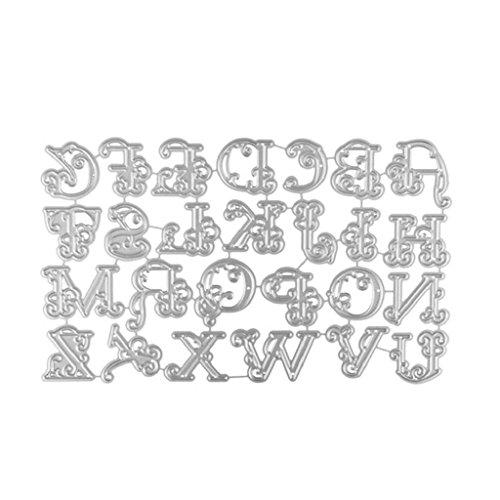QUICKLYLY DIY Troqueles de Metal Dies Alfabeto Grande Corte Plantillas Estarcir para Tarjeta, Papel, Álbum Scrapbook Realce Artesanía (A)