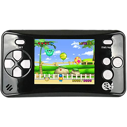 QINGSHE QS-4 Handheld Game Console for Kids,Portable Arcade Entertainment Gaming System Retro FC Video Game Player 2.5' LCD Built-in 182 Classic Games,Birthday Present for Children(Black)