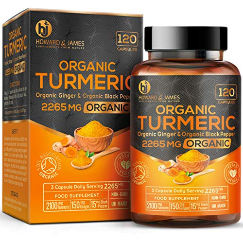 Turmeric Capsules High Strength | 2265mg Serving with Black Pepper and Ginger | 120 Organic Vegan Capsules