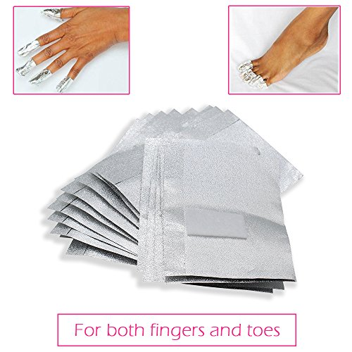 MIILYE Nail Remover Foil Wraps for Acrylic/UV/Gel Polish Varnish Soak-off Removal, with Pre-attached Lint Free Pad (100x Gel Nail Polish Remover Wraps)