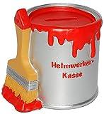 alles-meine.de GmbH Spardose - Farbtopf mit Pinsel -  Heimwerker Kasse  - rot - stabile Sparbüchse aus Kunstharz / Polyresin - Sparschwein - für Kinder & Erwachsene / lustig wi..