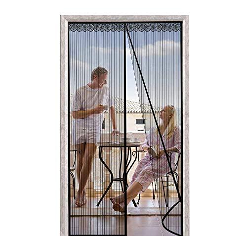 CHENG Rideau magnétique pour Portes 80x215cm, Moustiquaire magnétique, Automatiquement fermé Pliable Facile pour Enfants et Animaux, for Le Salon/Porte Patio/Windows, Noir