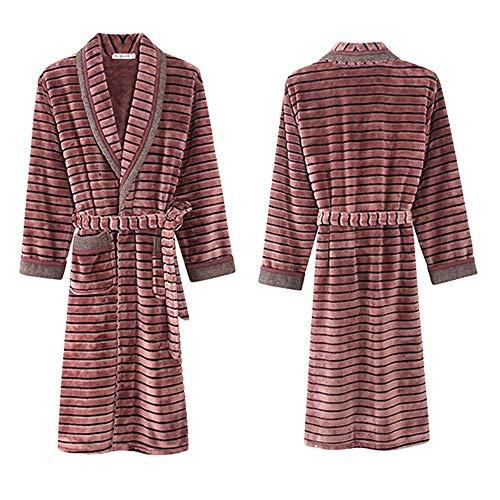 LIZANAN Larga Traje de los Hombres Caliente Grueso Tamaño Suave for Hombre Plus Hombres de Moda de Invierno Espesan la Franela de la Ropa de Noche Larga túnica Homewear, XXXL Bata de baño