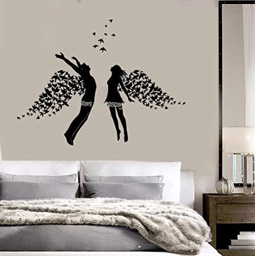 zqyjhkou Jugendliche Zimmer Vinyl Wandtattoo Liebe Paar Romantik Flügel Schlafzimmer Aufkleber...